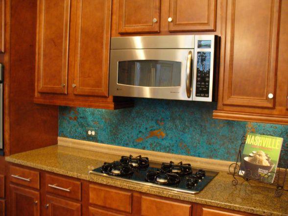 copper backsplash dream kitchen pinterest