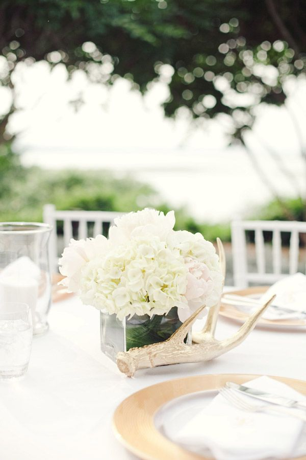 A beautiful centerpiece of white Hydrangea and a blush Garden Rose. The delicate white of the Hydrangea is complimented beautifully by the blush Garden Roses. DIY brides take note - this would be a simple arrangement that won't break the bank. Hydrangea and Garden Roses are available online at GrowersBox.com.