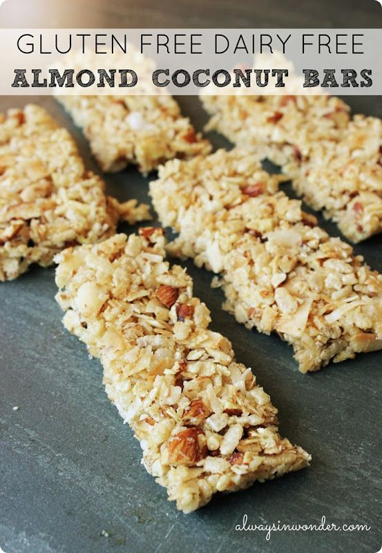 Gluten free dairy free almond coconut bars - like Kind bars. Yumm!