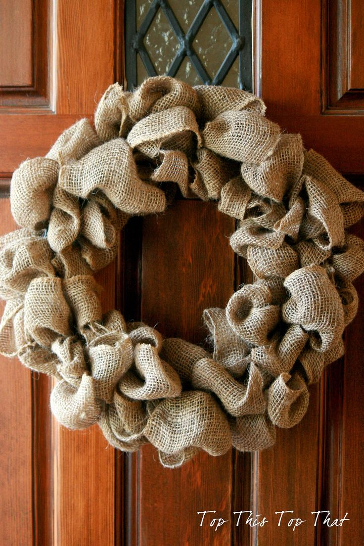Burlap wreath crafts pinterest for Crafts to make with burlap