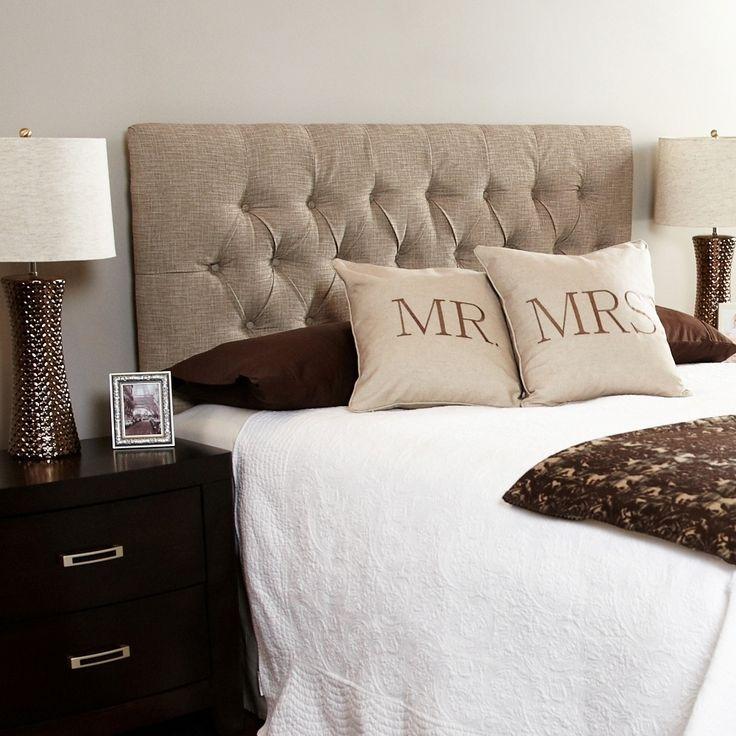 Humble + Haute Hampton Beige Full Diamond Tufted Upholstered Headboard ...