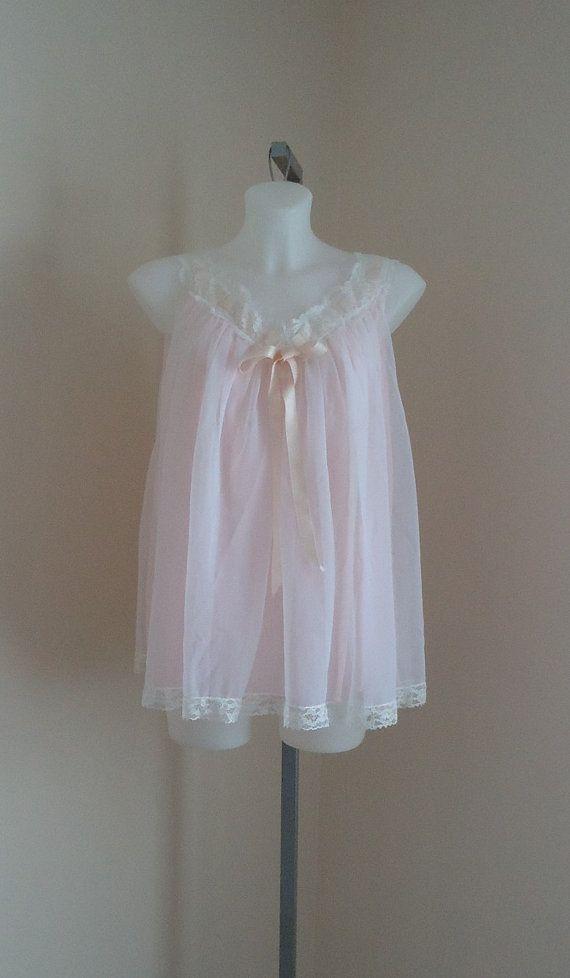 Vintage 1950s linda underlovelies pink chiffon baby doll nightgown on