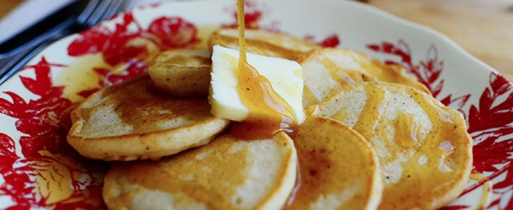 Eggnog Silver Dollar Pancakes with Nutmeg Syrup | Land O'Lakes ...