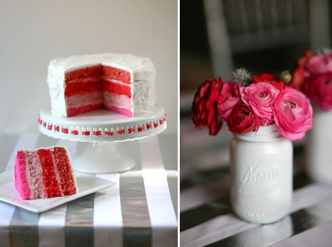 Pink and Red Cake and Pink and Red Flowers