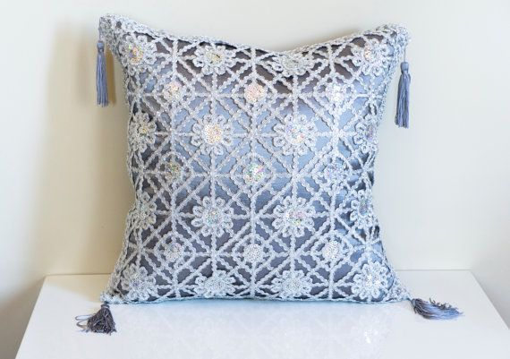 Grey Sequin Throw Pillow : Silver Sequin Pillow, Grey Throw Pillow, Sequin Pillow, Decorative Pi?