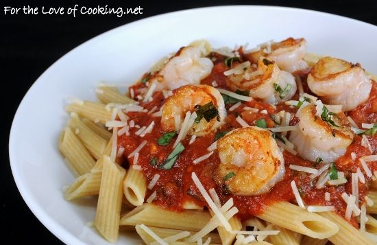 Garlic Basil Shrimp With Penne In A Spicy Basil Marinara ...