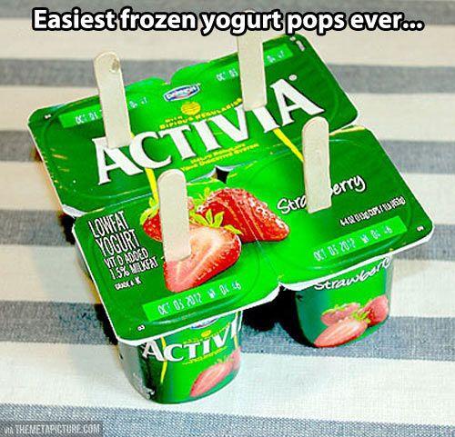 Frozen yogurt pops! | You can't help but smile! | Pinterest