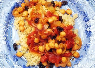 Moroccan Stewed Tomatoes, Chickpeas, Raisins, and Pine Nut Couscous