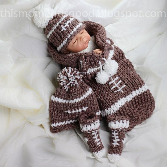 Football Themed Cocoon Baby Gift Set Loom Knitting Pattern: PATTERN ONLY Incl...