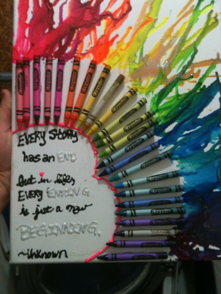 Crayon melt art with a quote canvas art pinterest for Melted crayon art with quotes