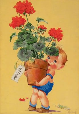 Illustration House, Inc - Child carrying oversized pot of geraniums to