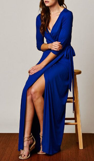 Slit blue dress