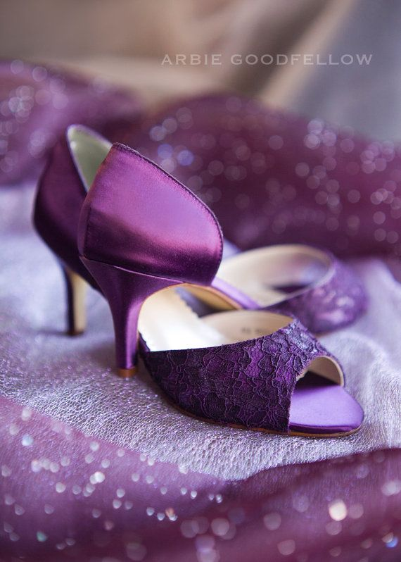 Wedding Shoes - Aubergine Shoe Lace Shoes - Purple Shoes Purple Lace ...