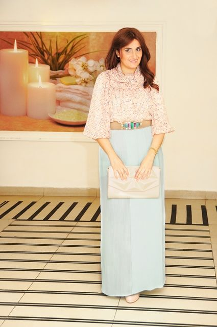 Baby blue maxi skirt with pale blouse tzniut pinterest