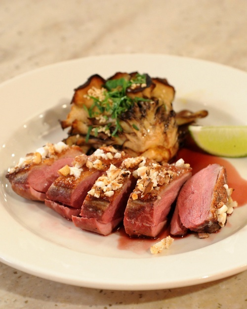 Almond-Caramelized Duck Breast with Amaretto Jus