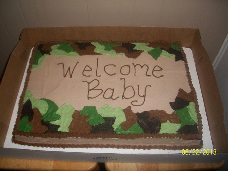 - Camo baby shower cake