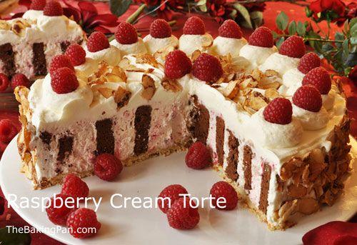 Elegant cake recipes raspberry cream torte recipe thebakingpan com