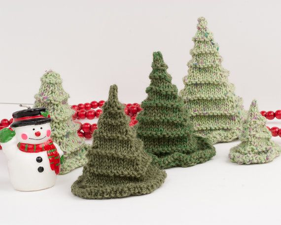 Toy or Christmas Tree Knitting Pattern PDF - 3D Evergreen Trees - Win?
