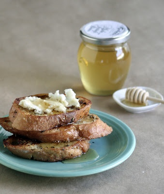 Savory French Toast with Chevre & Truffle Honey