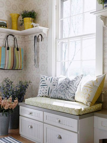 Instant mudroom - add a bench and hooks