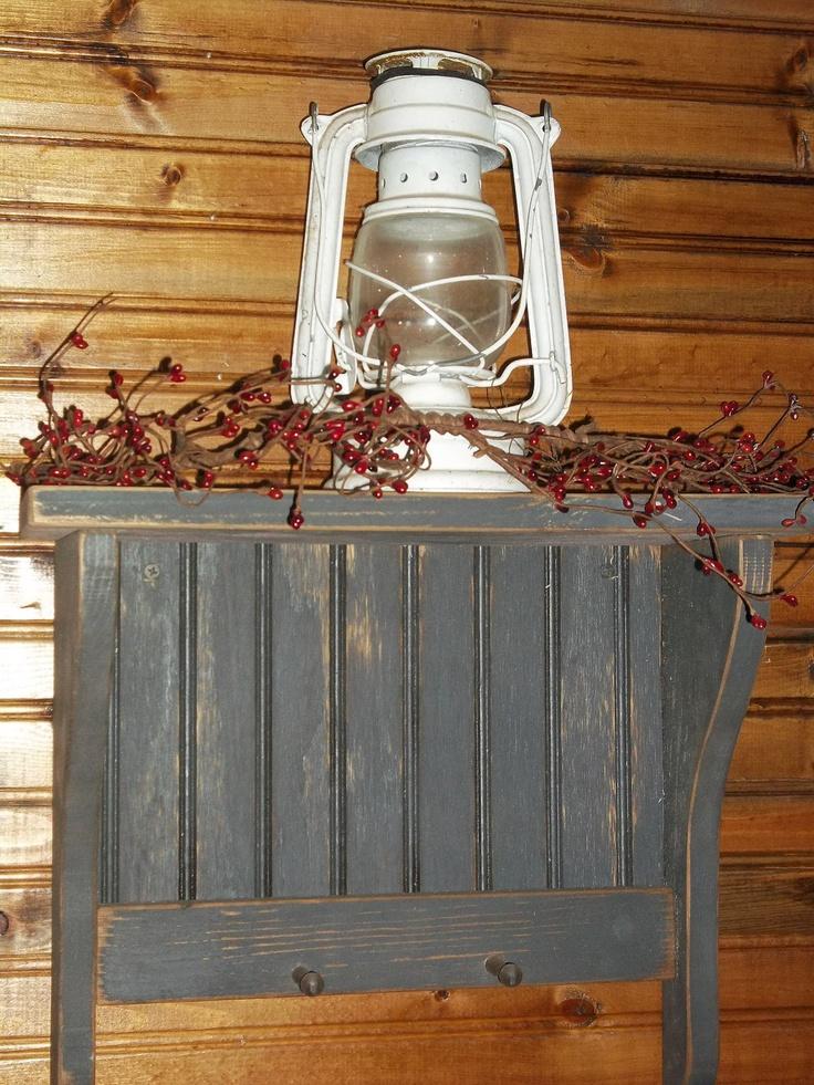 Primitive Rustic Farmhouse Black Shelf