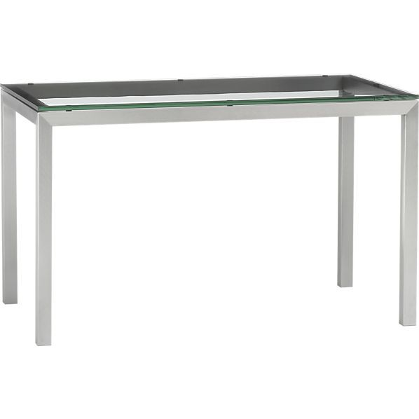 Glass Top 48x28 Dining Table With Stainless Steel Base In Dining