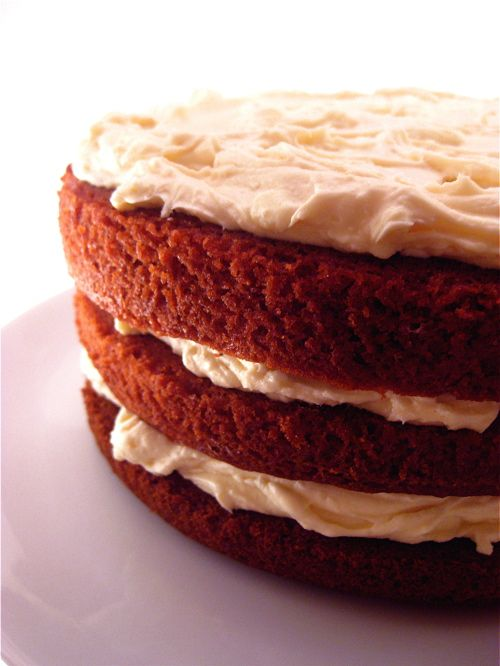 Red velvet cake with bourbon cream cheese frosting