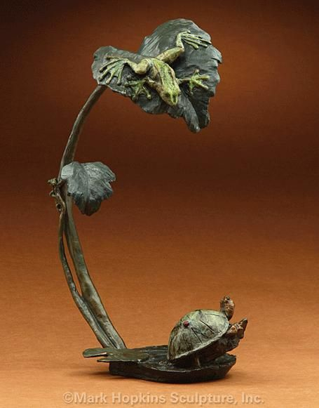 """This charming """"Creature Comforts"""" Bronze #Frog and Turtle Sculpture from the foundry of Mark Hopkins was designed by wildlife artist Eli Hopkins in celebration of the harmony of nature."""