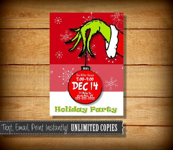 Christmas Party Invitations, Grinch Party Invitations, Christmas Invi…