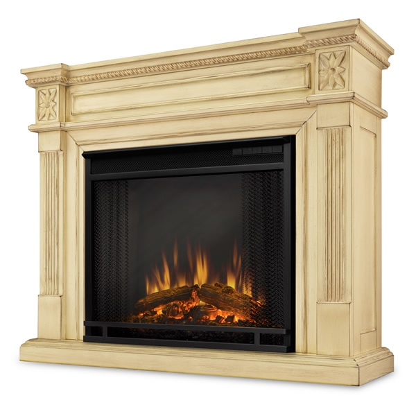 Elise Antique White Electric Fireplace