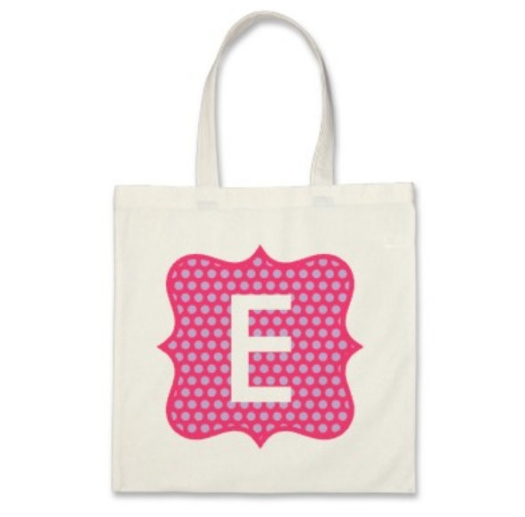 Girl Personalized Tote Bag - Polka Dot Frame Initial Tote Bag in Hot ...
