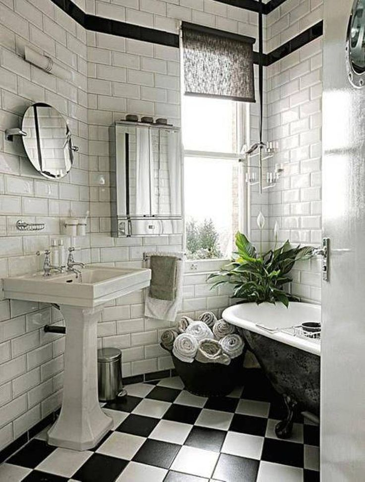 Black white tile bathroom floor