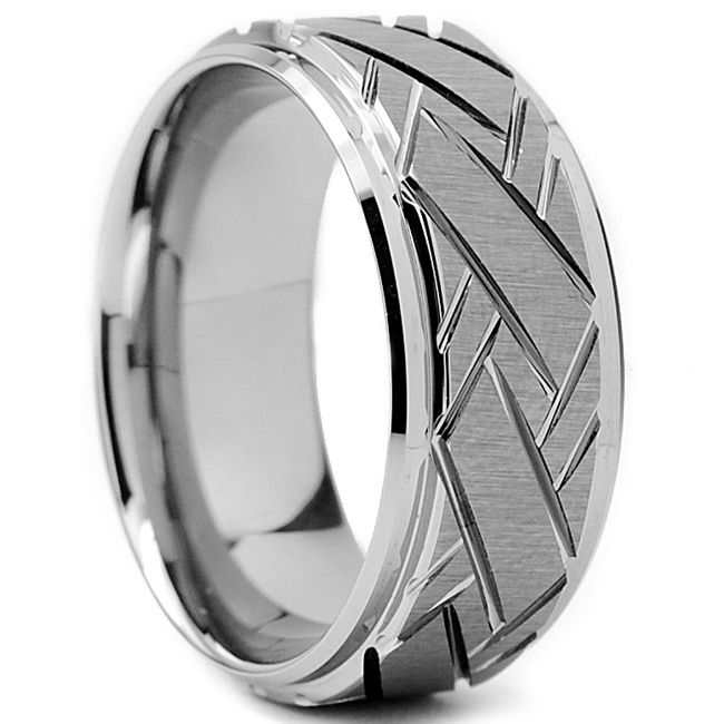 Tungsten Carbide Mens Weave Grooved Pattern Ring 9 Mm
