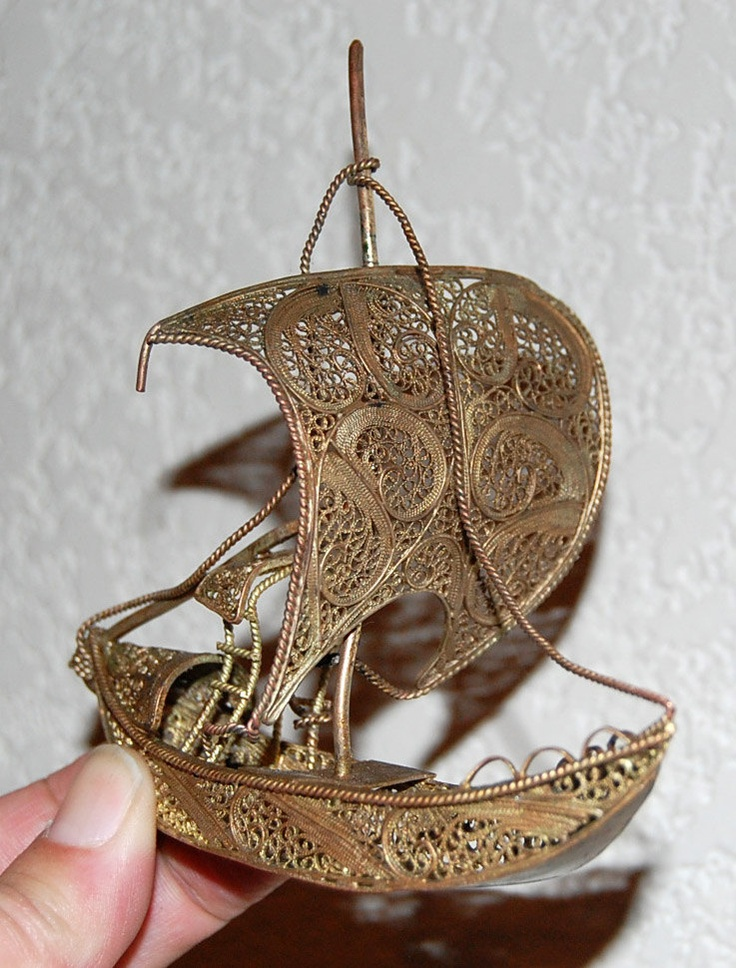 Arrr Matey-Vintage Filigree Galleon Pirate Ship Figurine Souvenir. $26.50, via Etsy.