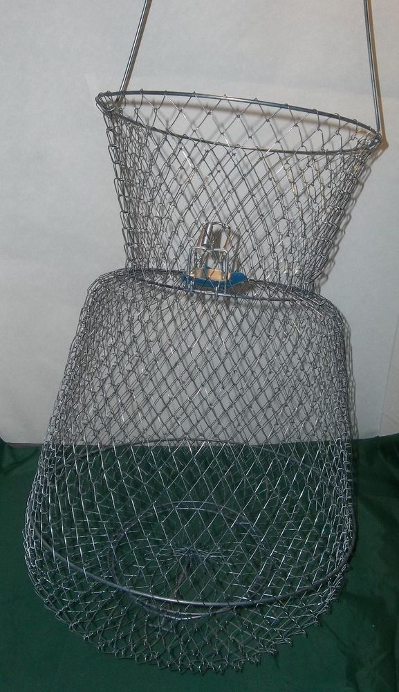 Vintage fishing wire basket spring lid creel cabin bait for Fish wire basket