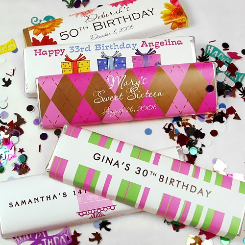 Personalized birthday chocolate candy bars by beau coup