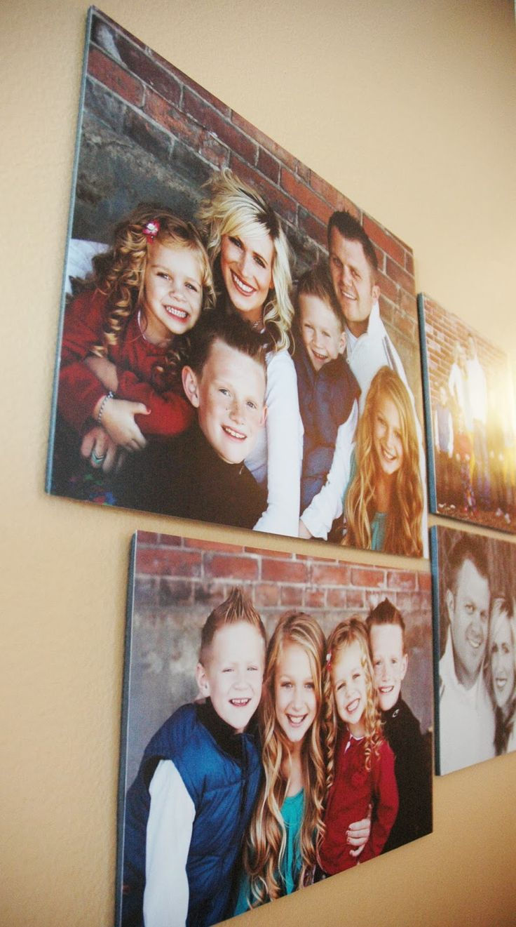 Enlarged photos on poster board