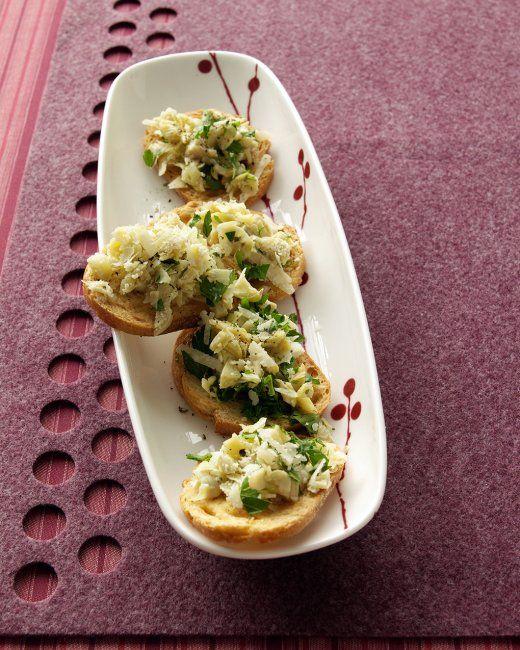 Artichoke-Parmesan Crostini Recipe | Cooking | How To | Martha Stewart ...