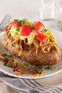 Taco-Stuffed Potatoes | yummy | Pinterest