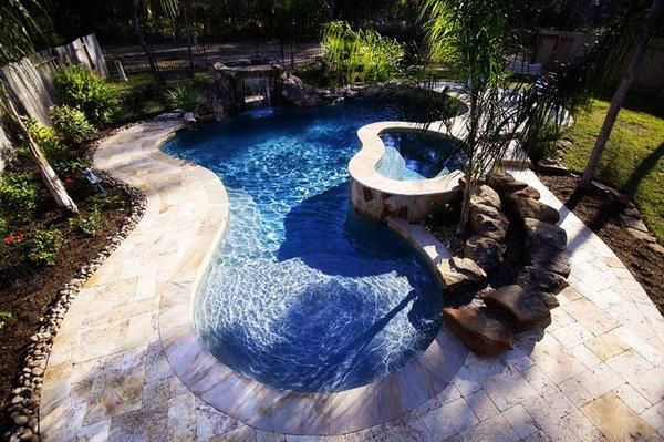 Tropical Backyard With Lazy River  House ideas  Pinterest