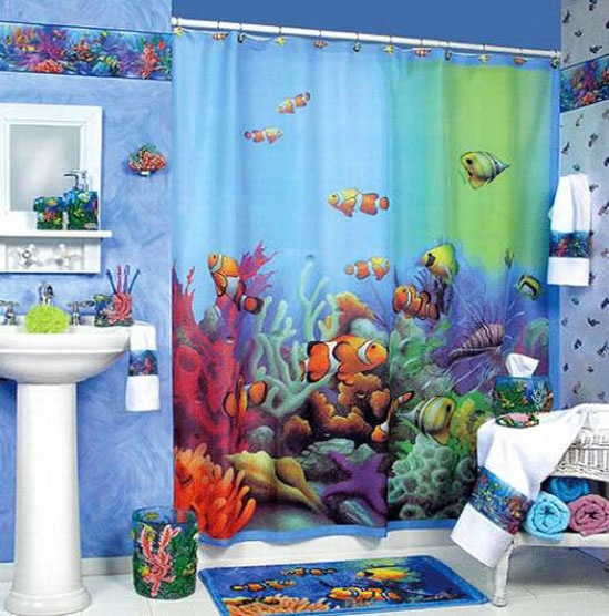 Nemo like shower curtain..cute | Finding Nemo ~ Shark Tale | Pinterest