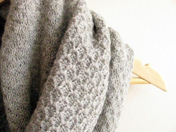 Alpaca Cowl Knitting Pattern : Alpaca Infinity Scarf, organic wool Loop Scarf, Knit Cowl ...
