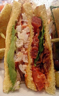 Lobster Club with Bacon, Lettuce, Tomato, and Avocado on Brioche ...