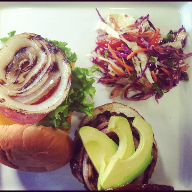 stuffed turkey burger w/ BBQ balsamic onions & avocado/basil-garlic ...