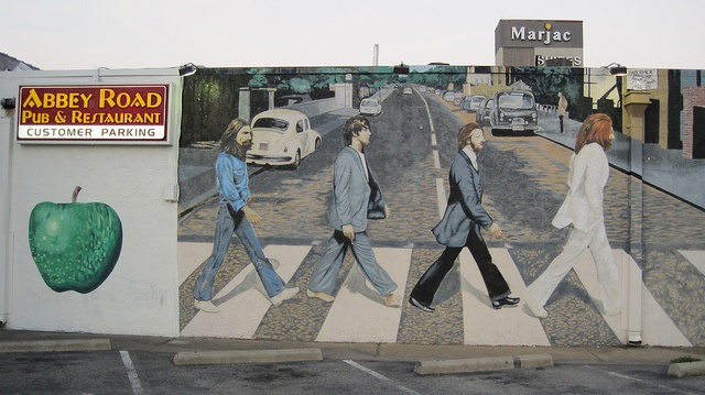 Pin by joanne inspired on art scrapbook pinterest for Beatles abbey road wall mural