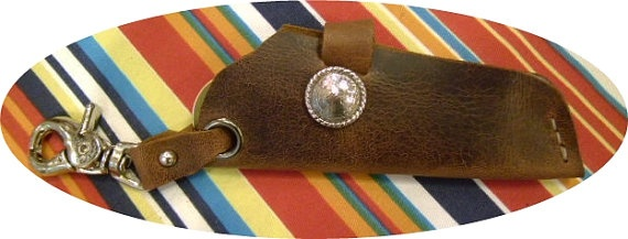 brown leather key fob holder gun holster style for by g2poriginals, $11.99