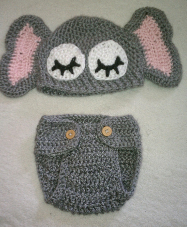 Free Pattern Crochet Elephant Hat : Crochet Baby Elephant Hat with Matching Diaper Cover Oh ...