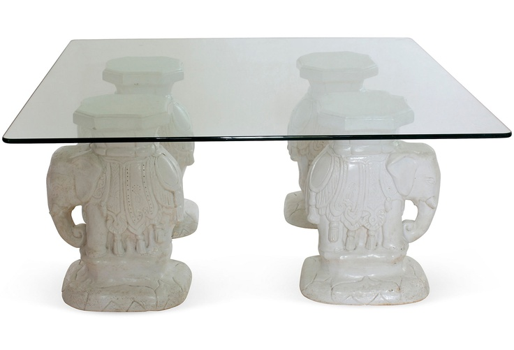 Elephant Coffee Table Glass Top