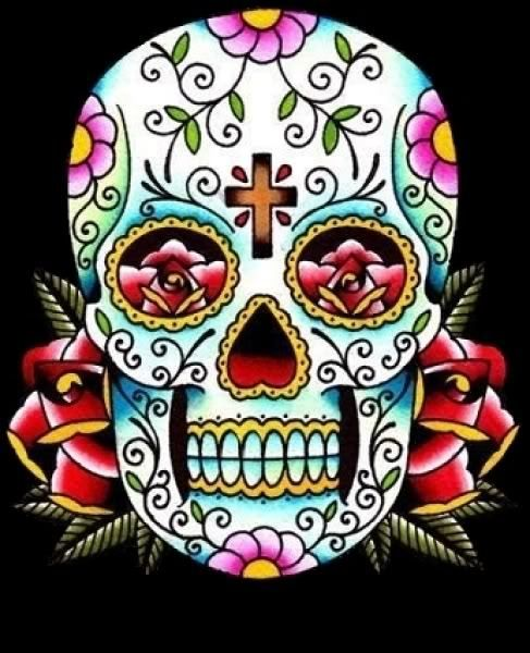 sugar skull tattoo - I would like to get a sugar skull with purple ...