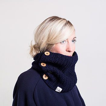 Navy Blue Cowl Scarf